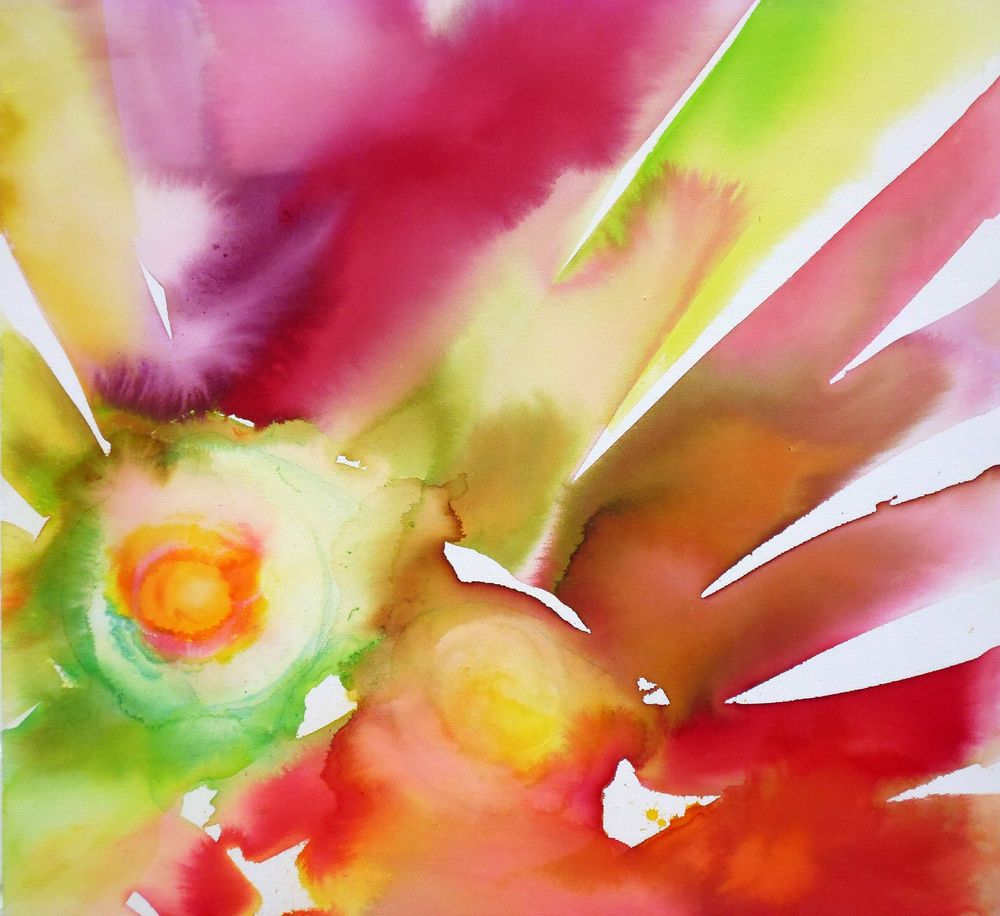 Large Abstract Sunburst Original Painting Box Canvas Rainbow Wall ...