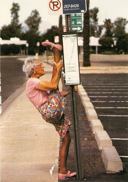 Old Woman Stretching Stretch Yoga Funny Fitness
