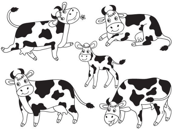 Item Cows Clipart Digital Vector Farm Animal Calf Barn Yard Cow Milk Cows Clip Art For Personal And Commercial Use Inst Cow Clipart Cow Vector Cow