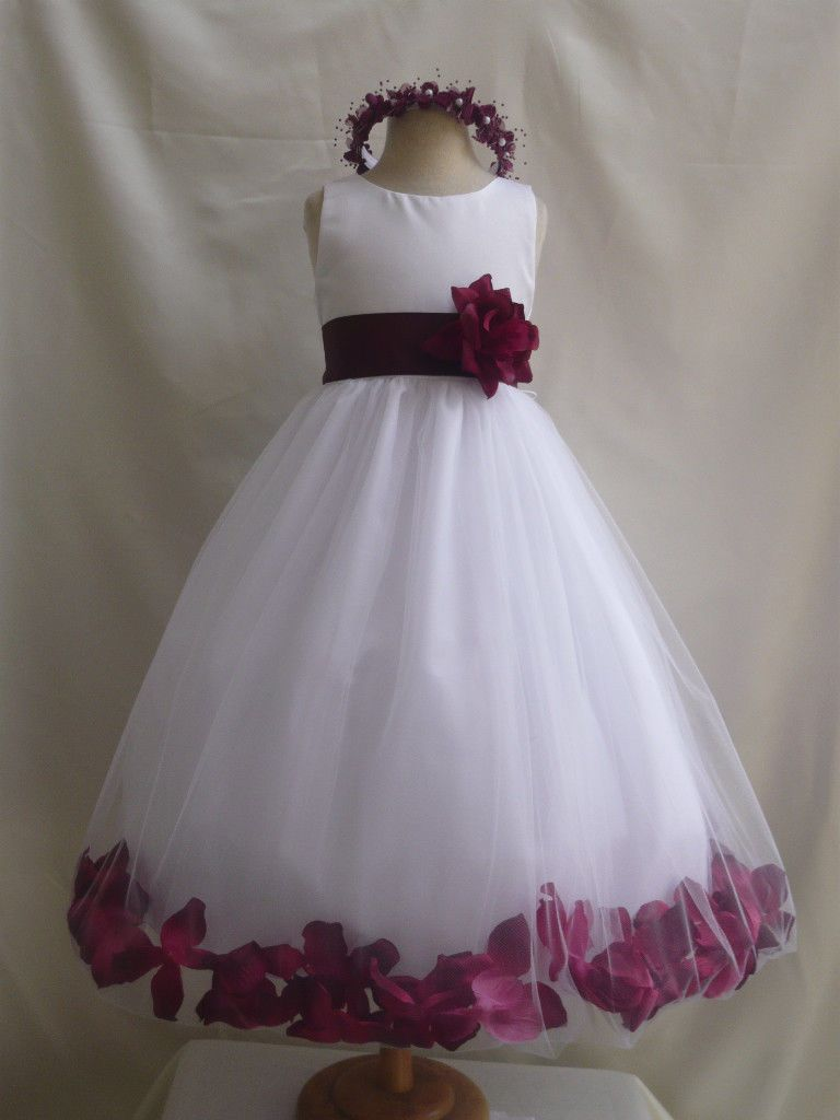 Christmas Flower Girl Dresses New White Burgundy Christmas Party