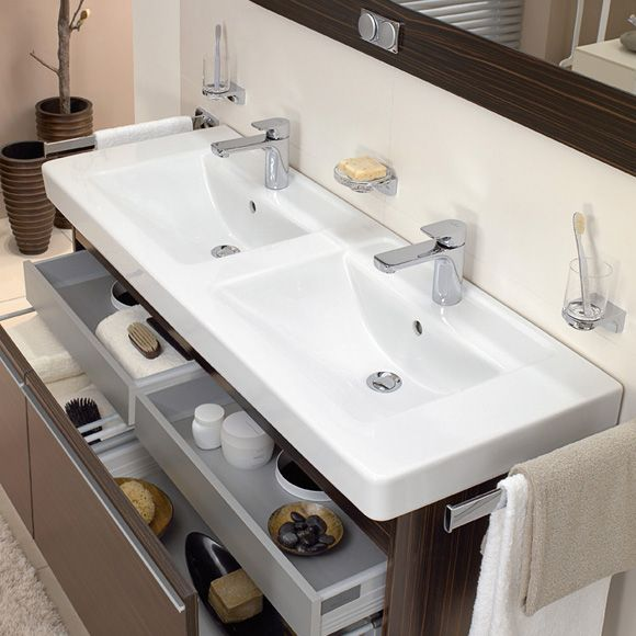 Villeroy boch architectura doppelwaschtisch wei mit for Badezimmer ideen doppelwaschbecken