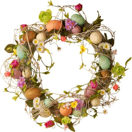Welcome guests to your Easter potluck in natural style with this charming wreath, featuring an array of eggs tucked into a vine-inspired frame.