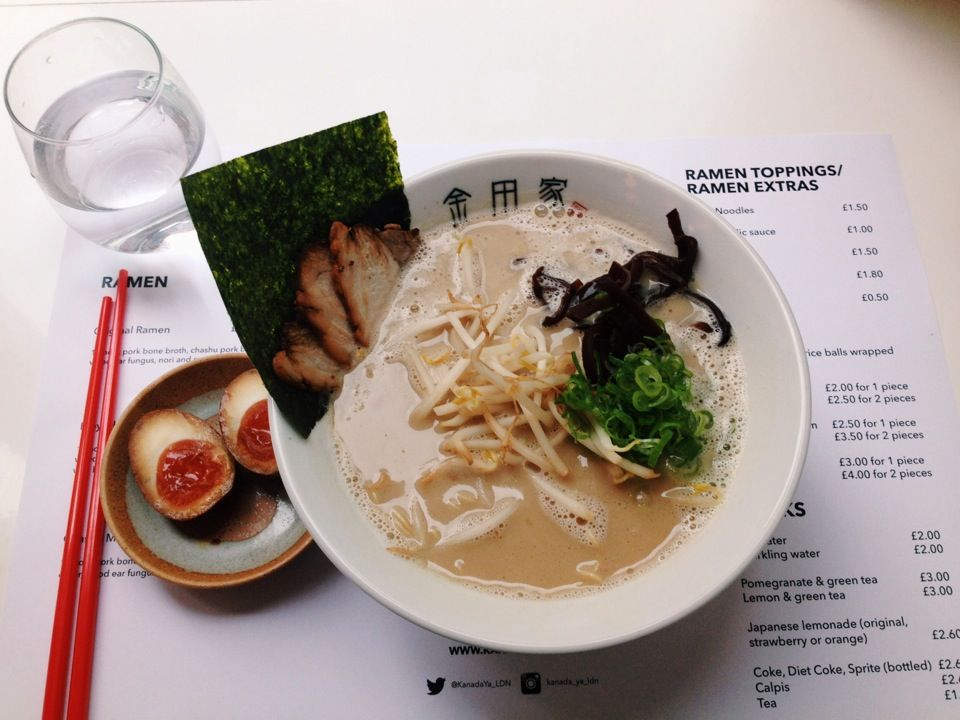 Brand new spot in London. Really delicious tonkotsu ramen - they only have three options on the menu though so you've got to want tonkotsu. You can order extras: egg, noodles etc. A big shout out goes to their fresh onigiri - amazing.