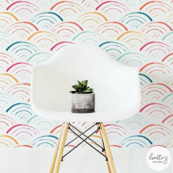 Watercolor Rainbow Removable Wallpaper, Neutral Baby, Peel