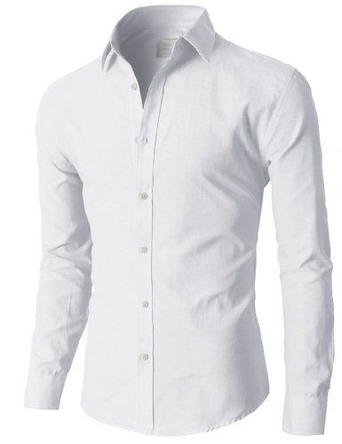 H2H Mens Oxford Cotton Slim Fit Dress Button-down Shirts Long ...