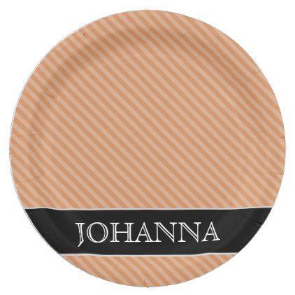 #stripes - #Light Brown u0026 Tan Stripes Pattern Custom Name Paper Plate  sc 1 st  Pinterest & stripes - #Light Brown u0026 Tan Stripes Pattern Custom Name Paper Plate ...