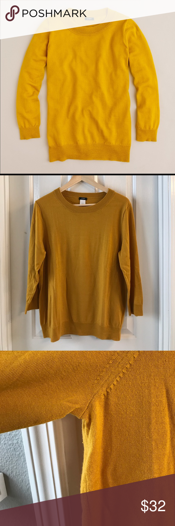 J. Crew Tippi Sweater Yellow/Gold colored 100% merino wool sweater ...