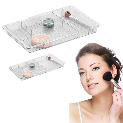 Picture Collection Website Serene Bathroom Vanity Expandable Drawer Organizer Clear Makeup u Cosmetics HowPlumb http