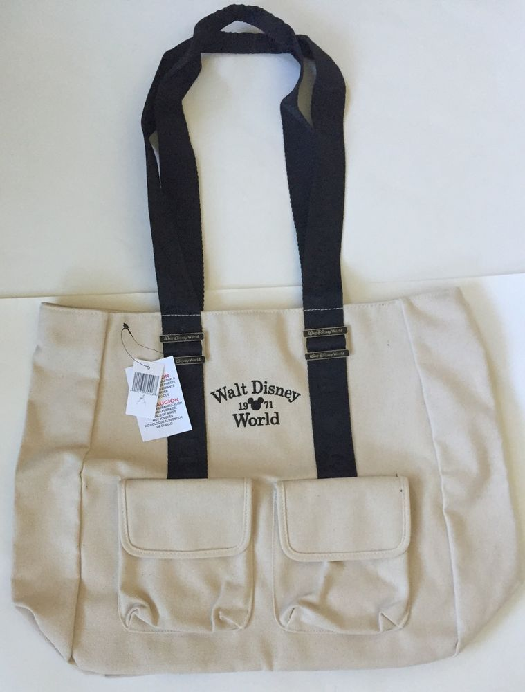 29a20bfc0f4 Hidden Mickey Mous Walt Disney World Canvas Tote Bag Shoulder Straps  Pockets | eBay