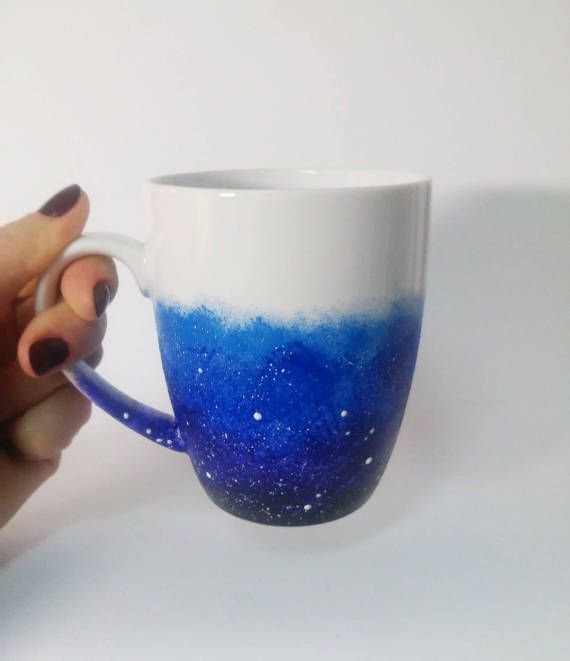 d4bf64c43d8 Buy Galaxy Mug get Free Rainbow coaster Hand painted White Ceramic ...
