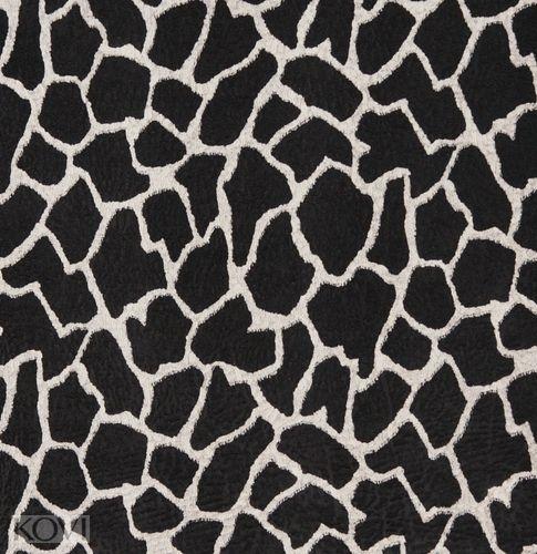 Ebony black and white giraffe faux animal print microfiber machine washable stain resistant upholstery fabric