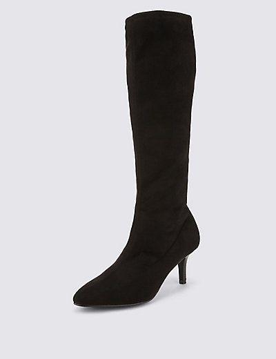 Kitten Heel Knee High Boots with