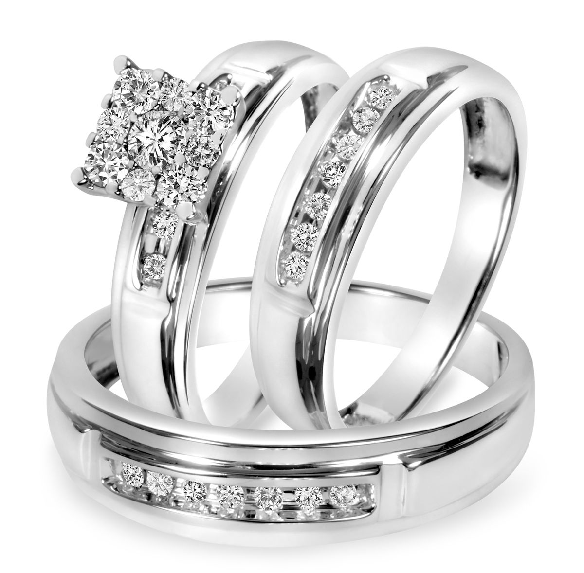 tw diamond trio matching wedding ring set 10k white gold - Trio Wedding Rings
