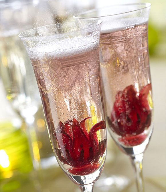 Wild Hibiscus Champagne Cocktail Recipe Hibiscus Flowers Holiday Champagne Cocktails Champagne Drinks
