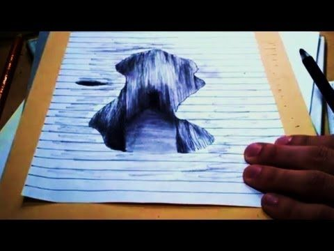 3d Drawing On Lined Paper : ▷ d test dessin rapide illusion drawing hole youtube art