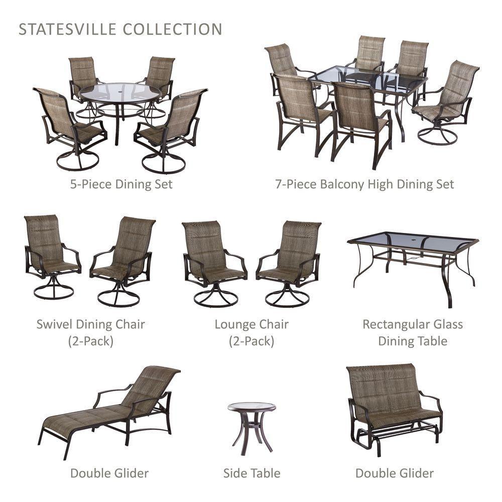 Hampton Bay Statesville Patio Furniture.Hampton Bay Statesville 5 Piece Padded Sling Patio Dining Set With