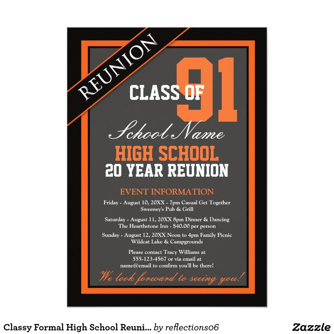 Classy formal high school reunion 5x7 paper invitation card classy formal high school reunion card class reunion invitationsparty stopboris Images