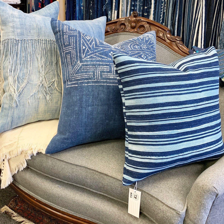 Bohemian Pillows Indigo Cushions Denim
