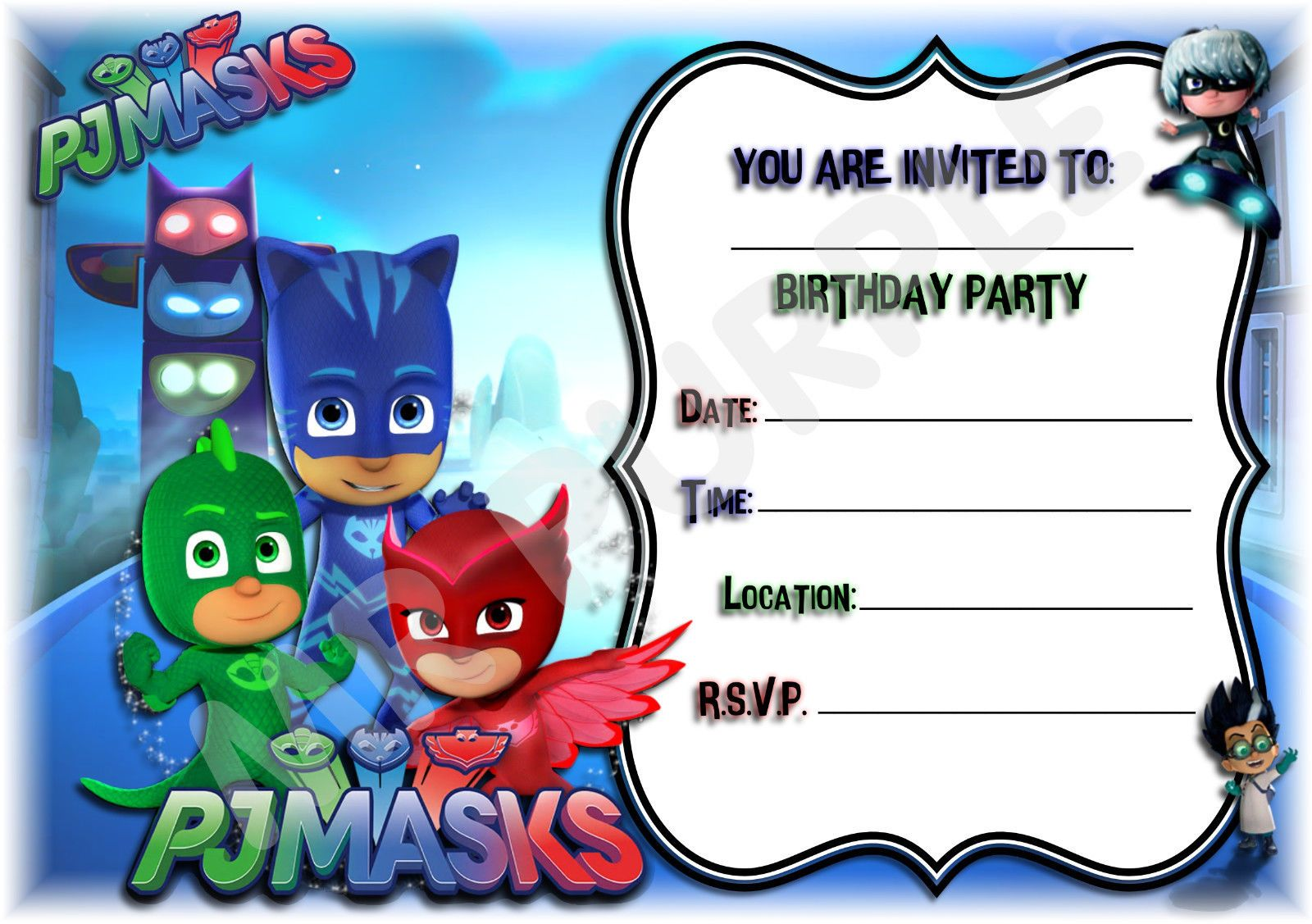 Pj Masks Kids Childrens Party Invitations X 12 Invites For Parties Landscape