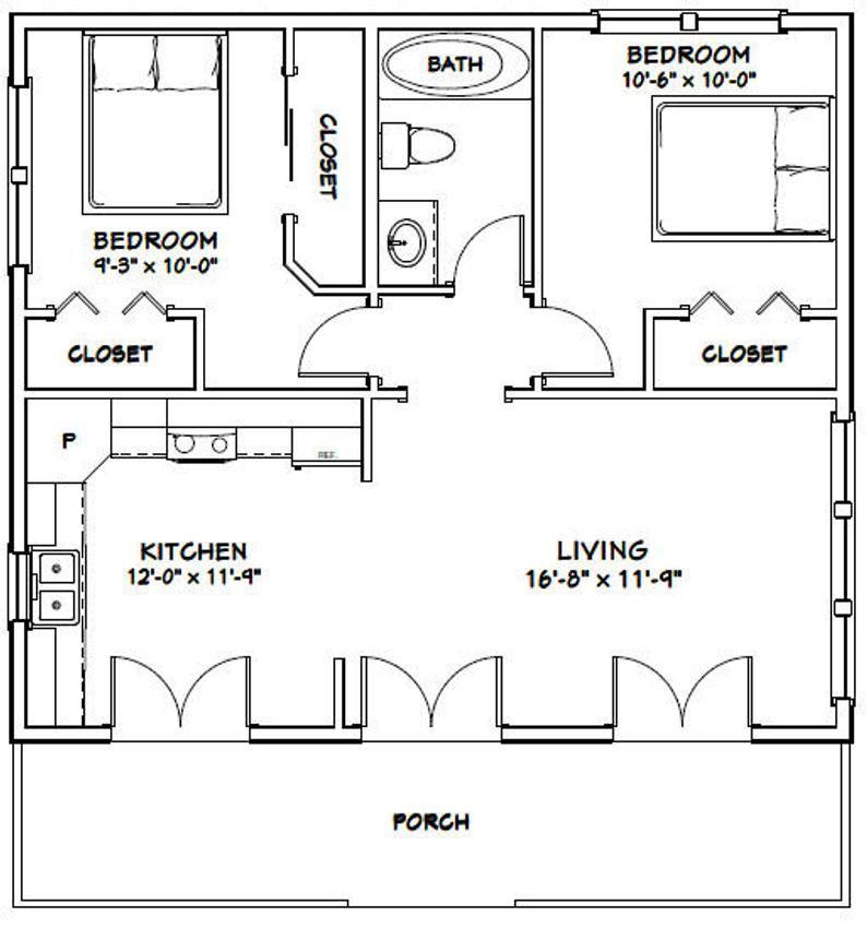 30x26 House 2 Bedroom 1 Bath 780 Sq Ft Pdf Floor Plan Etsy Guest House Plans Cottage Floor Plans Tiny House Floor Plans