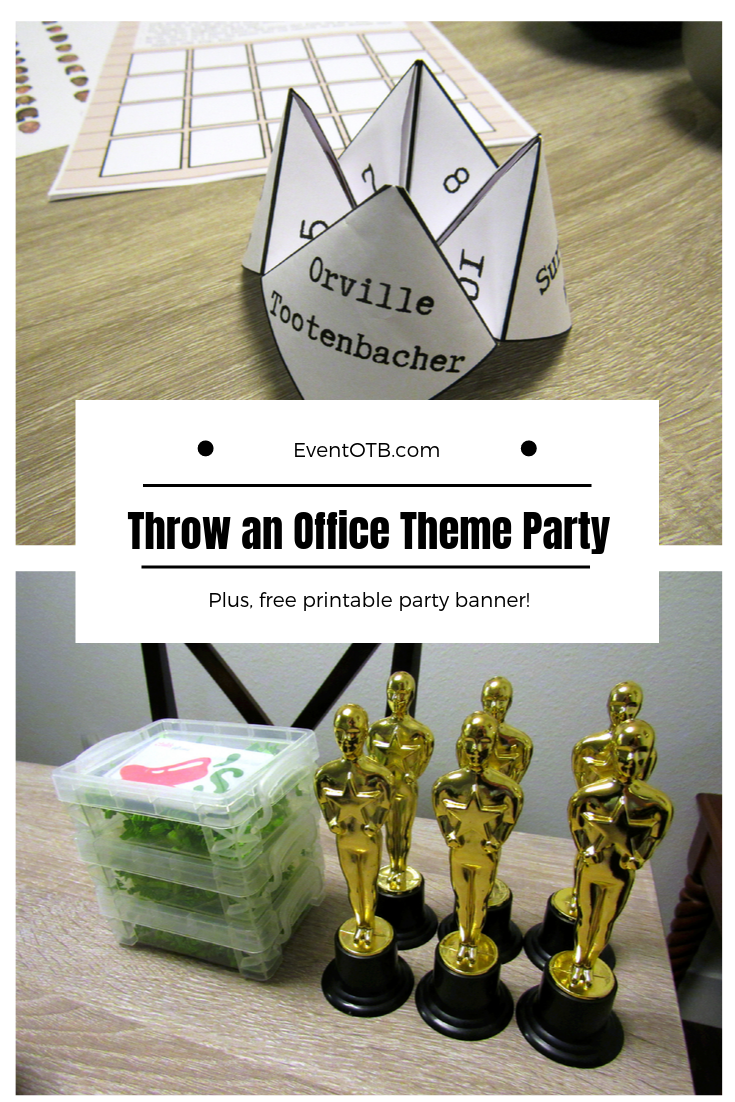 The Office Tv Show Theme Party || EventOTB.com   Throw the perfect, Party Planning Committee approved party for the Office fans in your life. Find out how to put together a fun, unique Office tv show themed party in this blog post. #theoffice #theofficetvshow #theofficeparty #dundermifflin #michaelscott #partythemes #partyideas #themedparties #dwightschrute