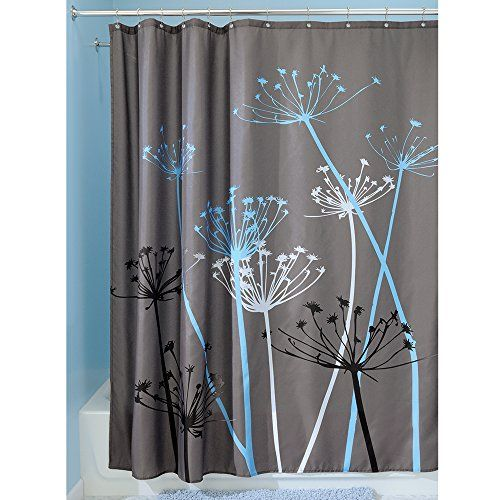 Interdesign Thistle Shower Curtain 72 X 72 Gray Blue With Images Fabric Shower Curtains Cool Shower Curtains Gray Shower Curtains