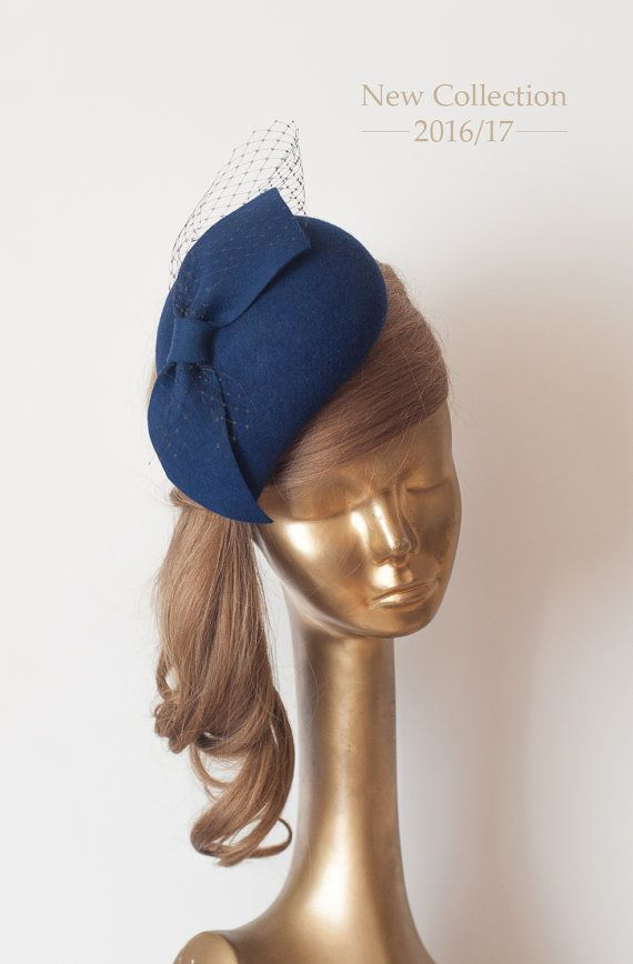 927fb51270e80 Unique Modern Navy Blue Felt FASCINATOR with Veil. Fascinator for Women by  ancoraboutique