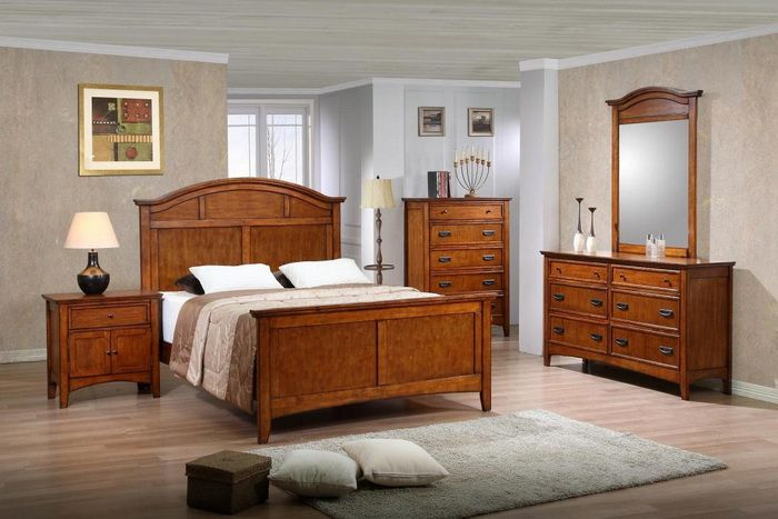 Mollai collection 6pc bedroom set available in medium oak merlot and cherry finish king for Merlot finish bedroom furniture