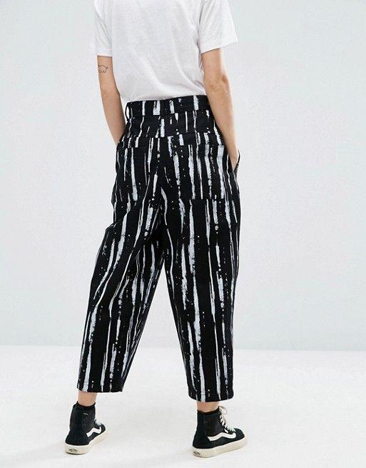 ASOS White | ASOS WHITE Ovoid Jeans in Paint Stripe Print