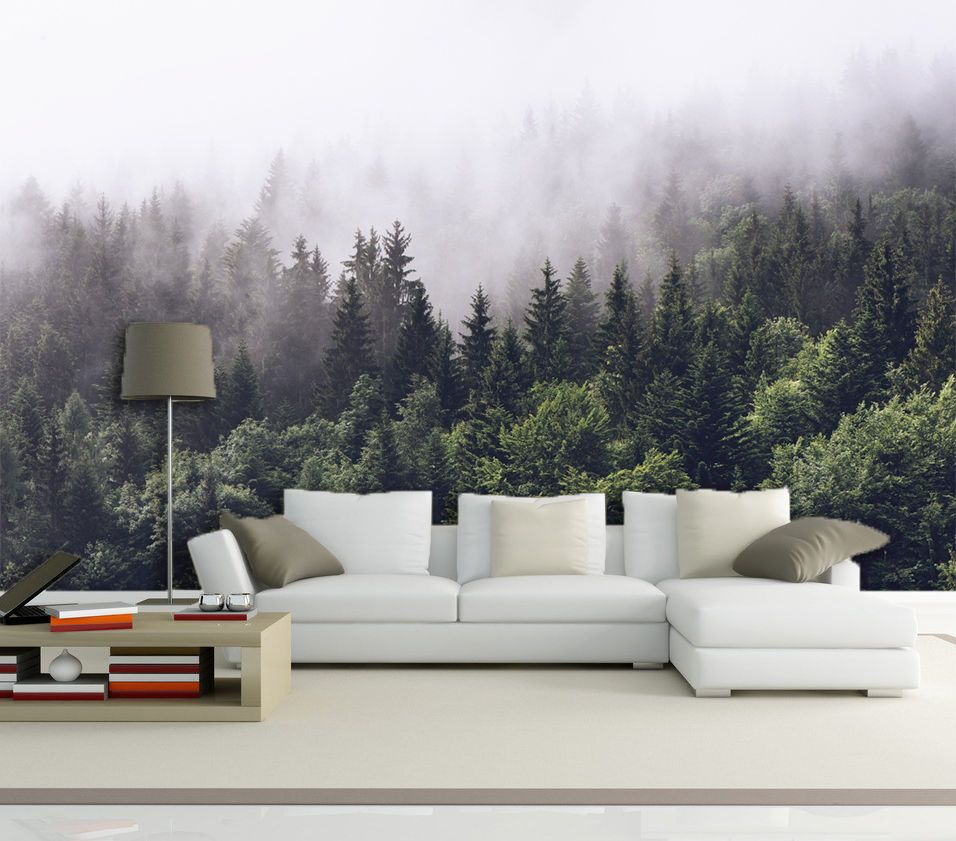 3D forest fog scenery Wall Paper Print Decal Wall Deco ...