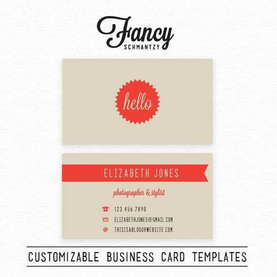 Hello Business Card Template by FancySchmantzy. love the store name, too.