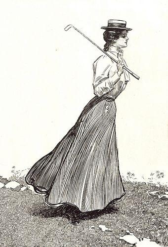 Gibson girl golfing