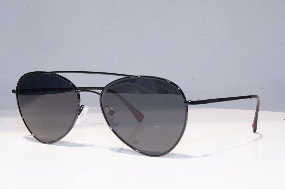 a508dffdc4 eBay  Sponsored PRADA Mens Designer Sunglasses Black Pilot FLAT SPS 50S  7AX-5S0 18870