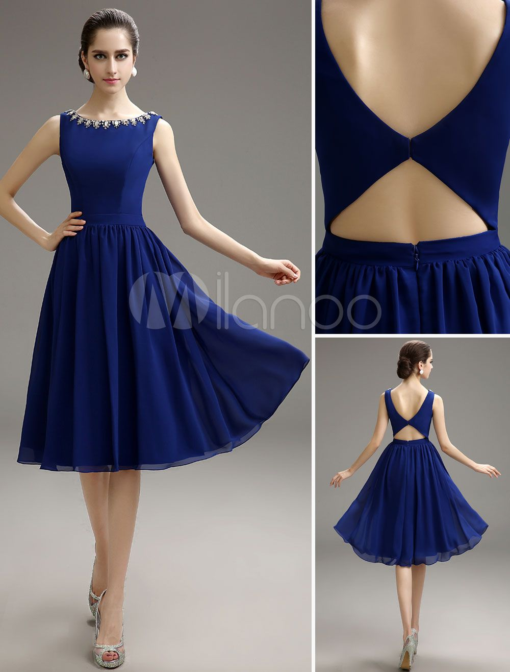 Royal Blue Beaded Chiffon Knee-Length Cocktail Dress - Milanoo.com ...