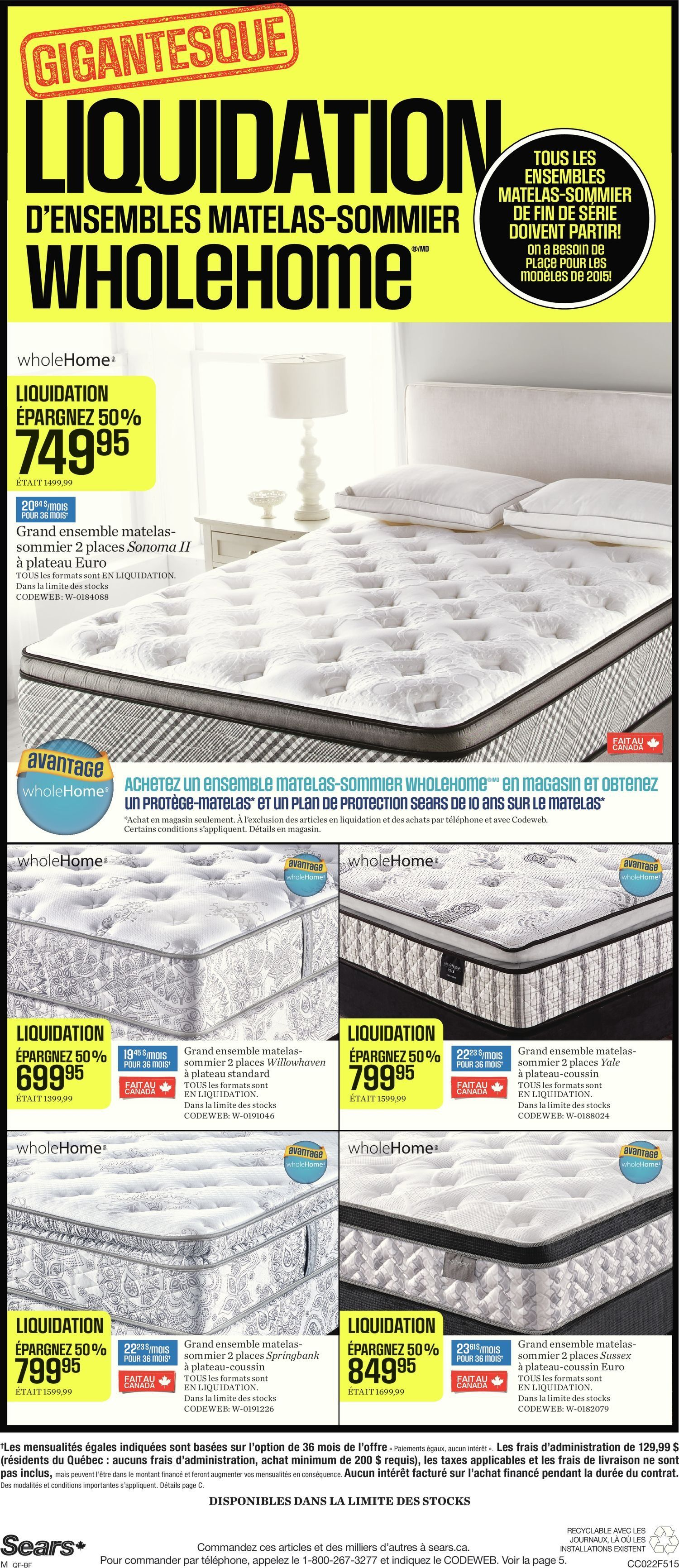 Liquidation World Flyer Sears Weekly Flyer Liquidation De Matelas Wholehome Fr Feb