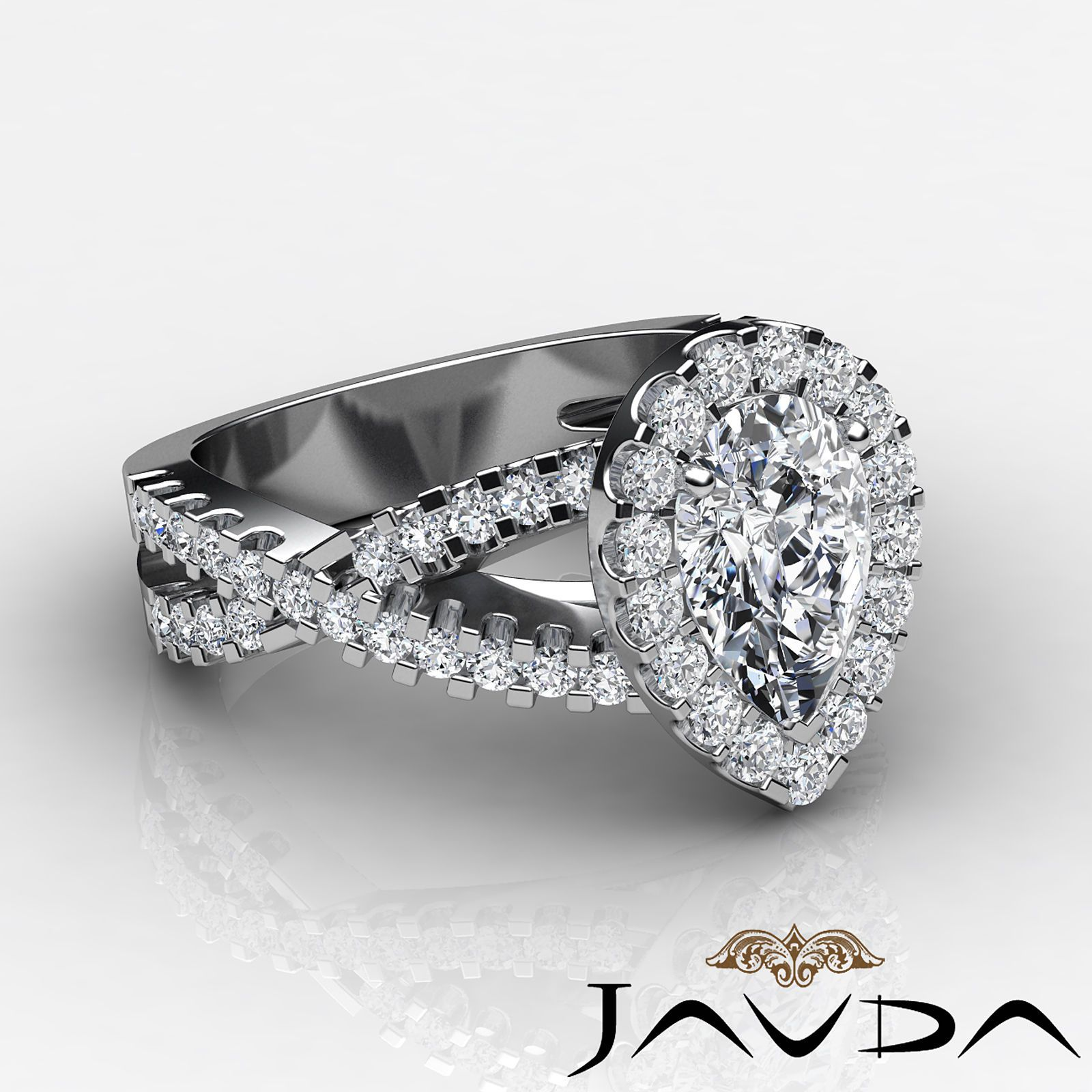 Details about pear shape diamond engagement prong ring gia i color