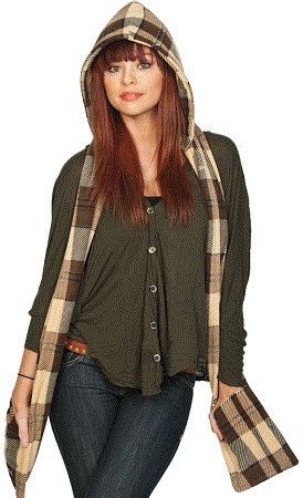 Brown Plaid Scoodie on shopstyle.com