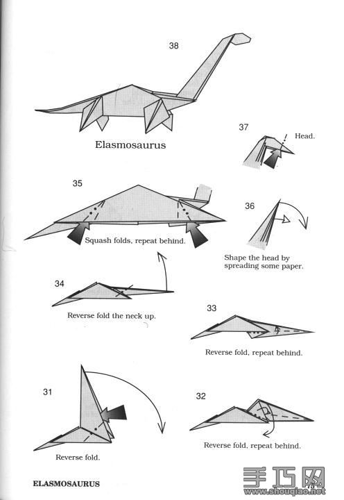 Origami Dinosaurs, a list of online, origami-dinosaur diagrams ... | 720x496