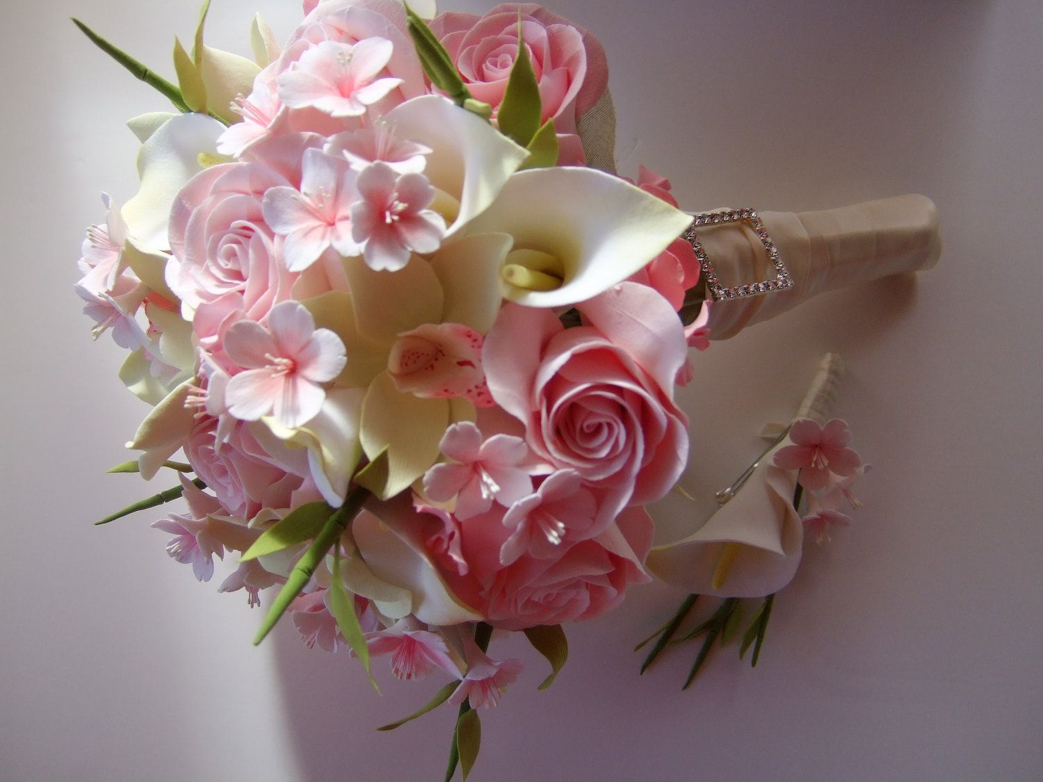 Clay Bridal Bouquet, Cherry Blossom Bouquet Made To Order, Deposit ...