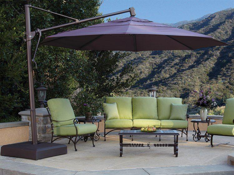 Marvelous Treasure Garden Cantilever Aluminum 13 Foot Wide Crank Lift Tilt U0026 Lock  Umbrella   AKZ13