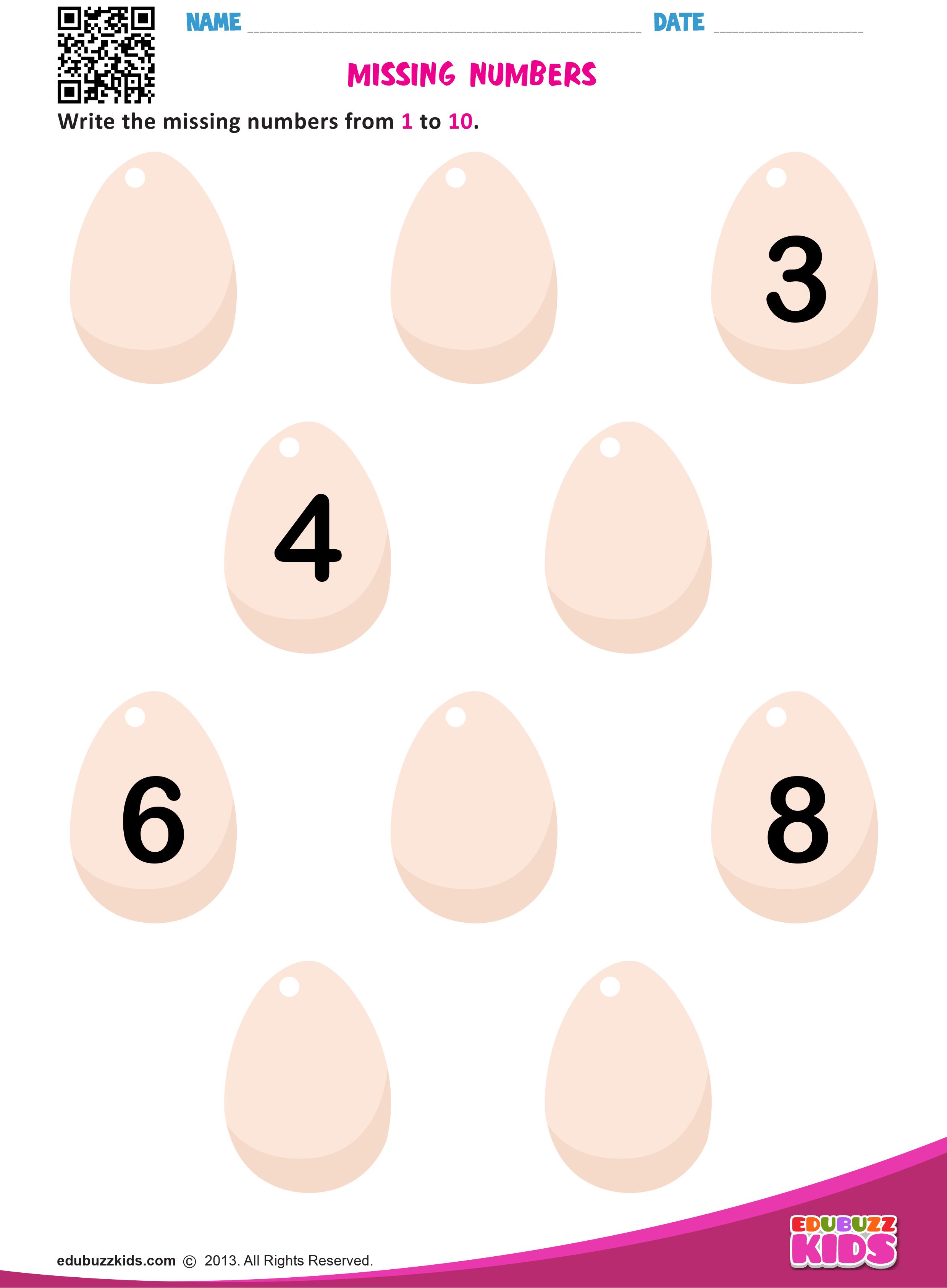 Printable Math Missing Numbers Worksheets For Preschool