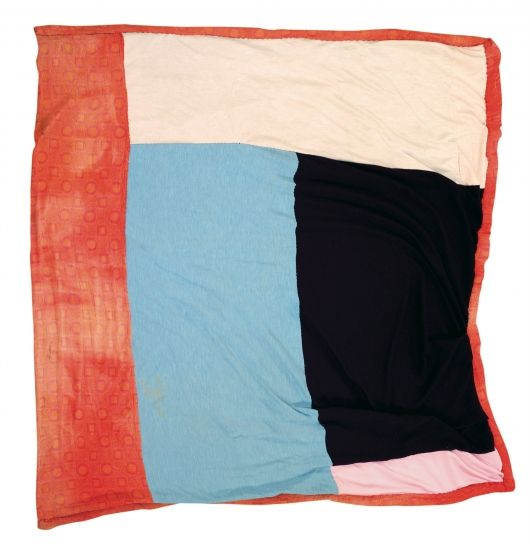 Irene Williams, Blocks, c. 1975, polyester and knit chenille bedspread, 77 x 75, Gee's Bend
