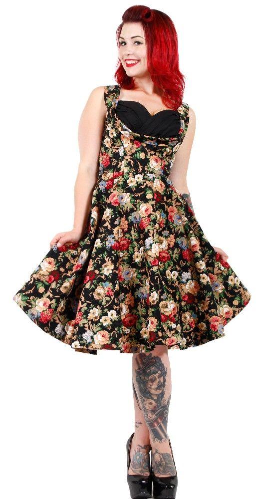 5b7ae245cfaf Lindy Bop Ophelia Spring Garden Swing Dress in Black Floral   Blame Betty