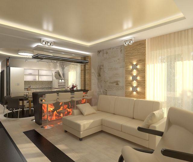 30 Einrichtungsideen für Wohnzimmer mit offener Küche | wohnzimmer ...