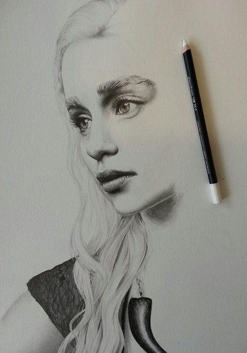 Emilia Clarke As Khaleesi Daenerys Game Of Thrones Artist Drawing
