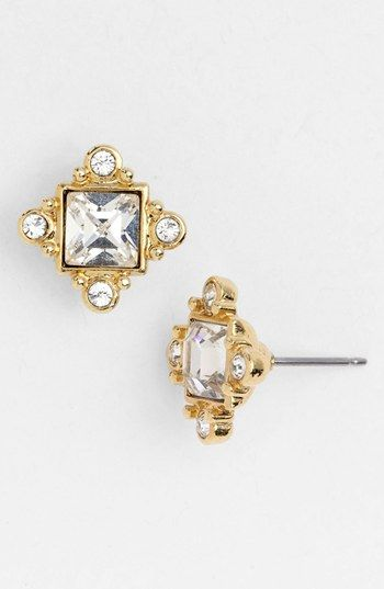 Givenchy Crystal Stud Earrings Gold/ Clear