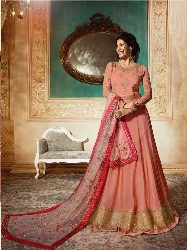 e3bd91003c  Bollywood  Indian  Designer  Latest  Georgette  Long  Anarkali Party  Wear   Dresses  Handmade  Anarkali