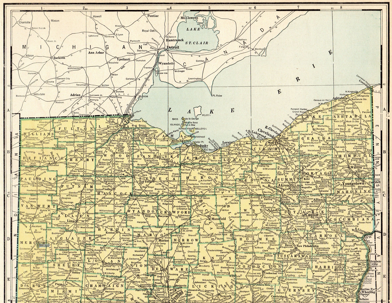 Antique Ohio Map.1947 Rare Size Antique Ohio Map Poster Size Vintage Ohio Gallery