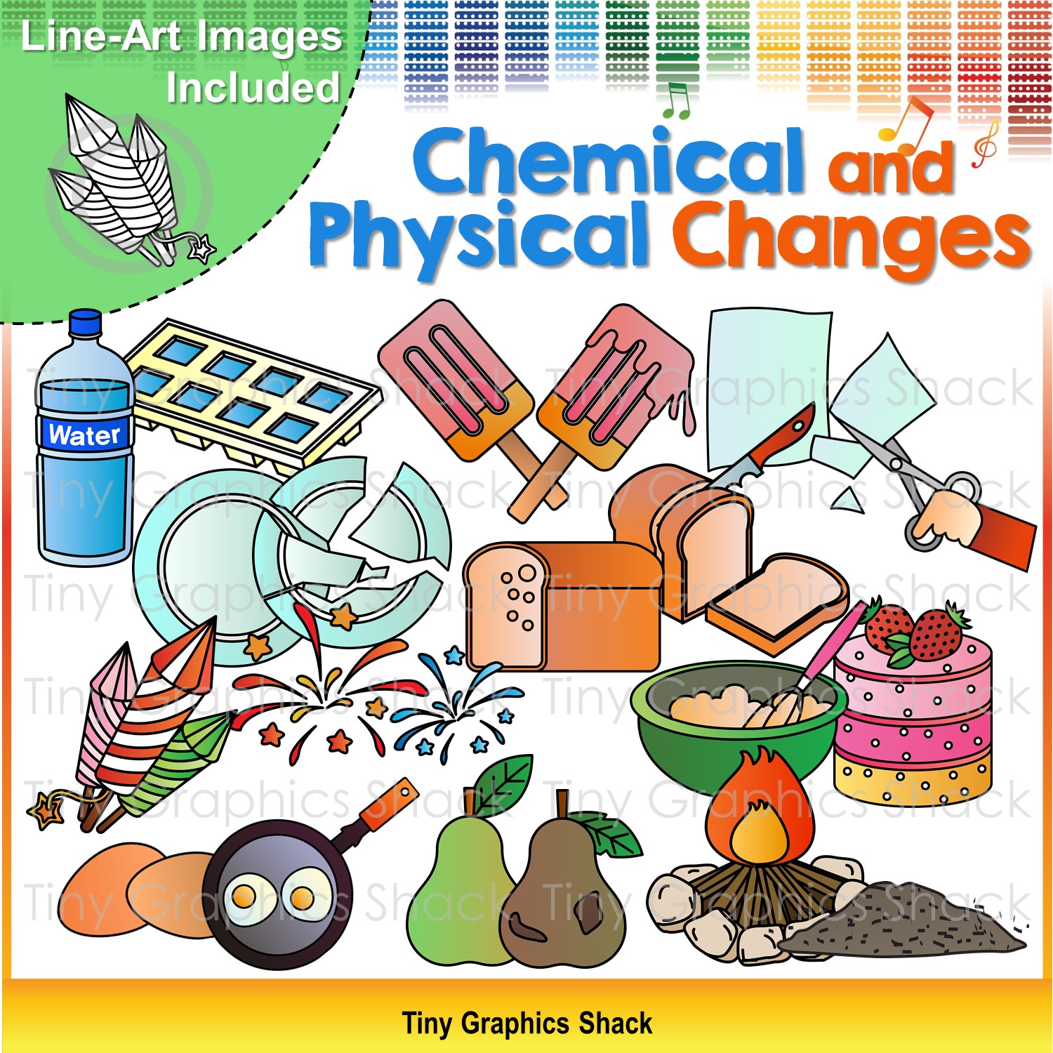 Science Physics Difference: Physical And Chemical Changes Clip Art