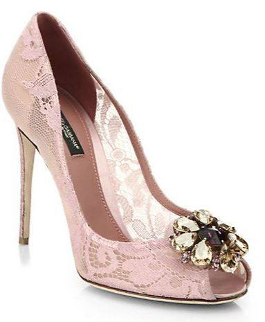 a13f4cdb386 pink lace peep toes from Dolce   Gabbana